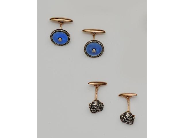 A pair of blue enamel and diamond cufflinks and a pair of diamond cufflinks (2)