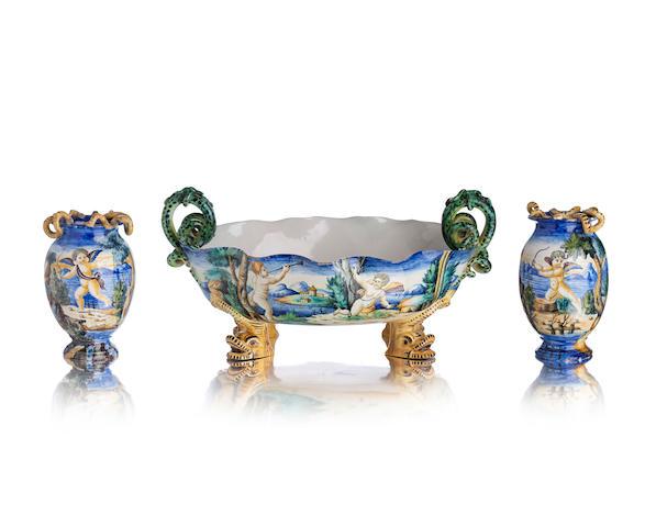 A Cantagalli centrepiece and a pair of Cantagalli vases Circa 1900