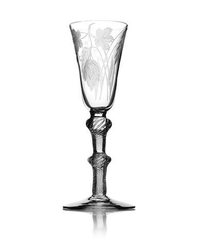 An engraved air twist ale glass Circa 1760