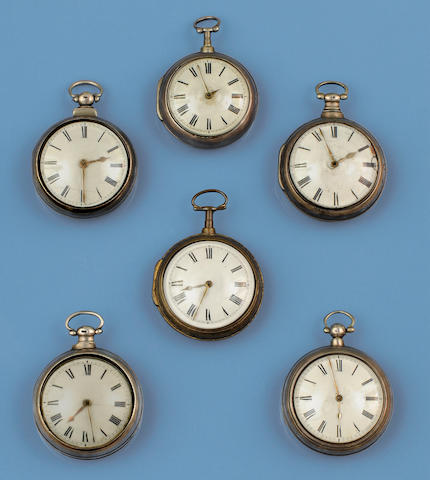A collection of six pair-cased pocket watches(6)