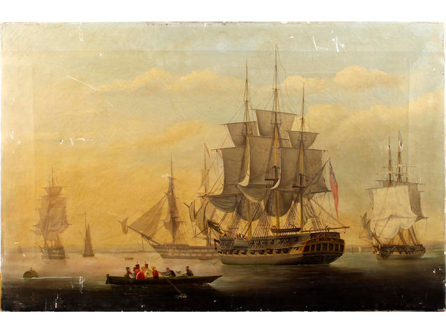 English School, 19th Century Shipping in a harbour