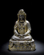 A bronze Buddha traces of gilt