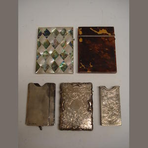 3 silver card cases and 2 others