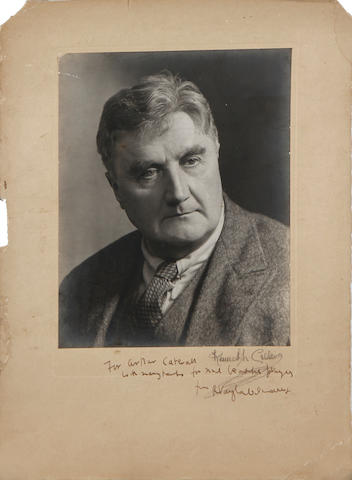 Four signed and inscribed black and white photographs presented to Arthur Catterall by noted Composers and Musicians of his era. various sizes, (4) (4)