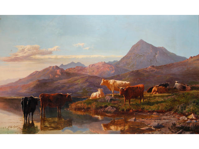 Sidney Richard Percy (British, 1821-1886) Landscape with cattle