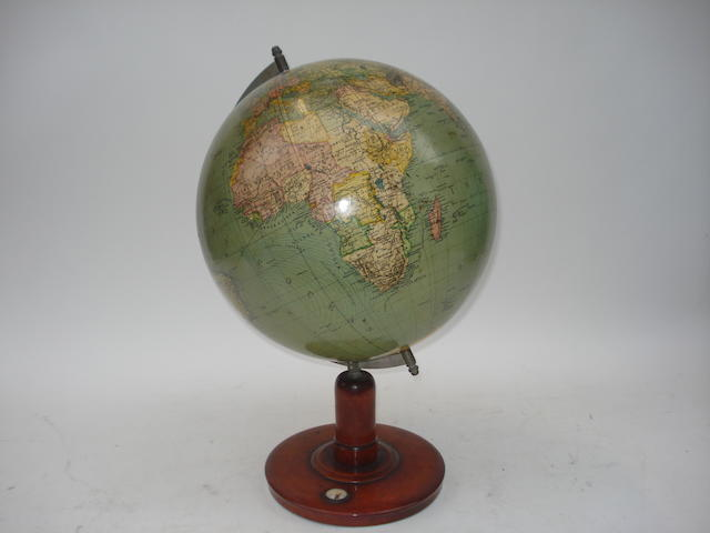 A 12-inch schoolroom terrestrial globe,  English,  early 20th century,