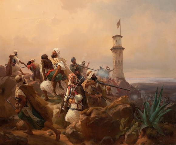 Professor Niels Simonsen (Danish, Copenhagen 1807-1885 Frederiksberg) Defending a hill fortification, Morocco,