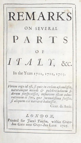 [ADDISON (JOSEPH)] Remarks on Several Parts of Italy, &c. in the years 1701, 1702, 1703