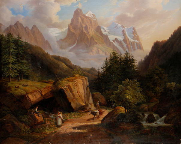 German School, 19th Century Travellers on a path before an Alpine landscape
