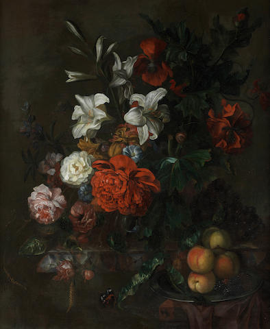 Circle of Ernst Stuven (Hamburg 1660-1712 Rotterdam) Poppies, lilies, roses and other flowers in a glass vase on a draped marble ledge,