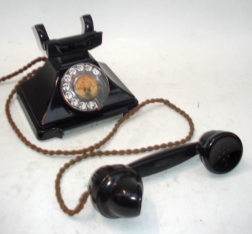 200-series telephones: pre and post-war models, in black bakelite,