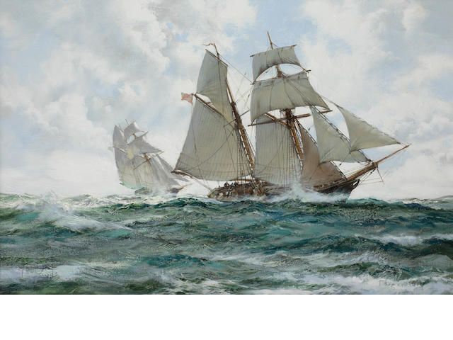 Montague Dawson 'The Orange Schooner'<BR />Signed<BR />Oil on canvas<BR />49 x 74cm