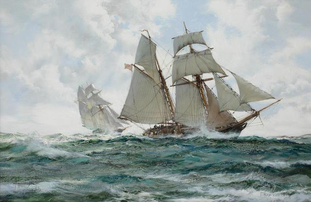 Montague Dawson (British, 1890-1973) The Orange Schooner