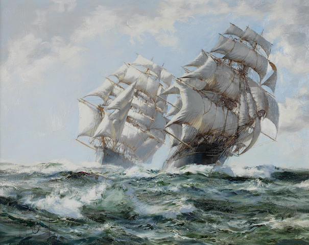 Montague Dawson 'Taeping and Ariel'<BR />Signed<BR />Oil on canvas<BR />39 x 50cms