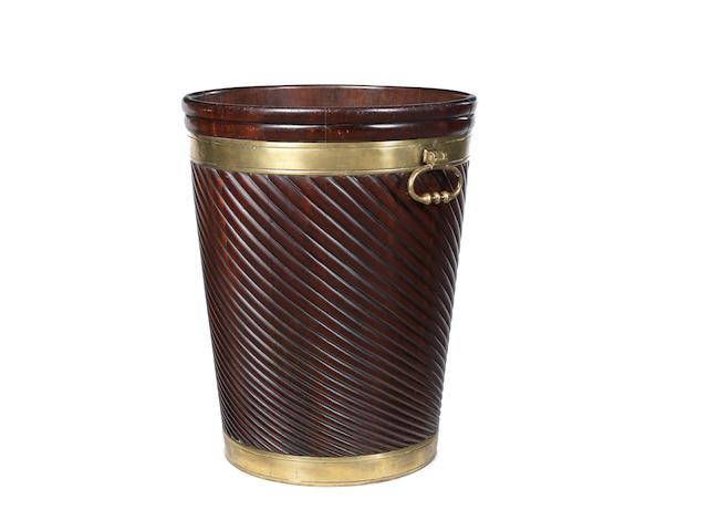 A large early 19th century Irish mahogany peat bucket