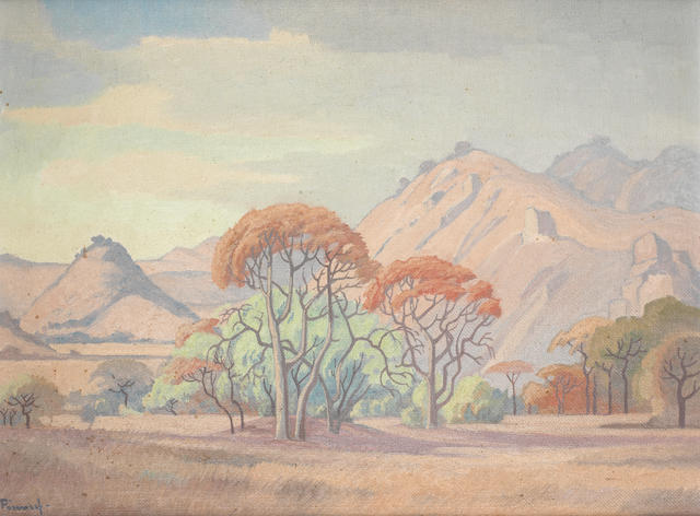 Jacob Hendrik Pierneef (South African, 1886-1957) Trees with kopje beyond