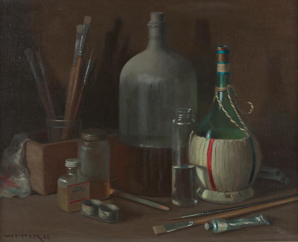 Willem Hermanus Coetzer (South African, 1900-1983) Still life with bottles