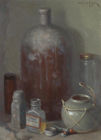 Willem Hermanus Coetzer (South African, 1900-1983) - A study of bottles, signed & dated '64, OOB - 40 x 30cms