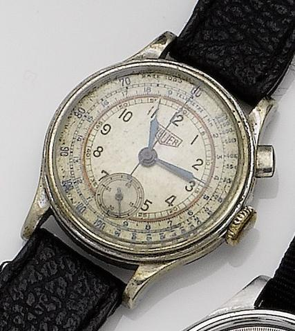 Heuer. A stainless steel manual wind chronograph wristwatchCase No.352820, 1950's