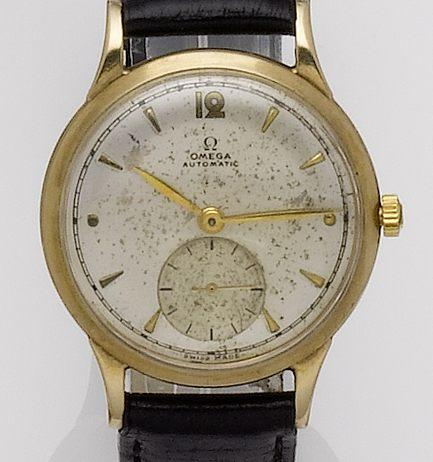 Omega. A 9ct gold automatic wristwatchAnniversary edition, Movement No. 10813294, Case No. 167944, Sold 20th October 1948