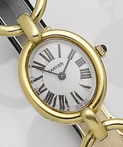 Chopard. An 18ct gold manual wind wristwatch with stirrup shaped lugs1980's