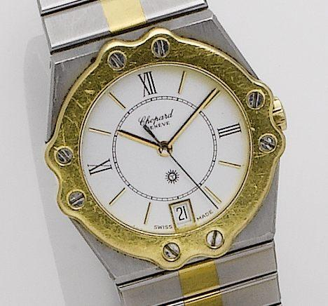 Chopard. A stainless steel and gold quartz calendar bracelet watch St Moritz, 1980's