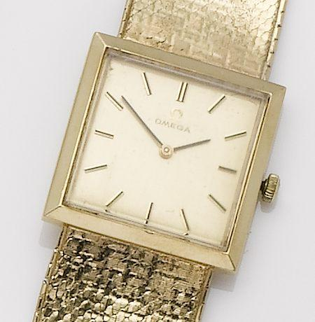 Omega. A 9ct gold manual wind bracelet watch1970's