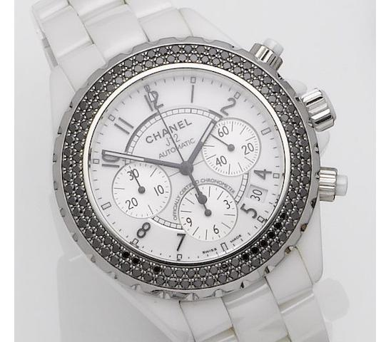 Chanel. A ceramic diamond set chronograph automatic bracelet watch J12, Recent