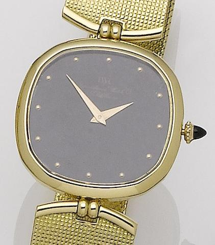 IWC. An 18ct gold manual wind bracelet watch Ref:2083, Case No.2272663, Movement No.2355484, Circa 1978