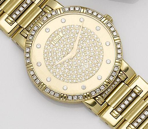 Piaget. An 18ct gold diamond set quartz bracelet watch Ref:84024 N K 818, Case No.647410, Movement No.0100126, Circa 1990's