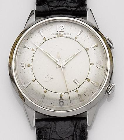 Jaeger-LeCoultre. A stainless steel manual wind alarm wristwatch Memovox, Case No.743257, Movement No.1292563,  1950's