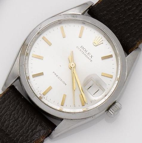 Rolex. A stainless steel calendar wristwatch Oysterdate, Ref:6294, Case No.961490, Movement No.51990, Circa 1954