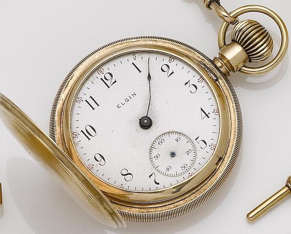 Elgin. A gold plated manual wind full hunter pocket watch No.13639225, Circa 1907