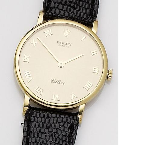 Rolex. An 18ct gold manual wind wristwatch Cellini, Ref:6112, 1990's