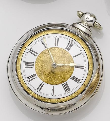 Unsigned. A late 19th century silver pair case open face pocket watch with engraved dial  Number 56008, London hallmark for 1869