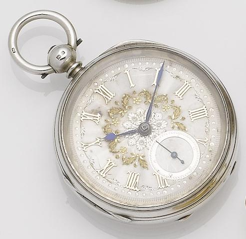 James Crichton. A late 19th century 18ct gold open face pocket watch together with silver open face pocket watch Chester hallmark for 1869