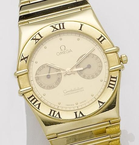 Omega. An 18ct gold quartz calendar bracelet watchConstellation day-date, 1990's