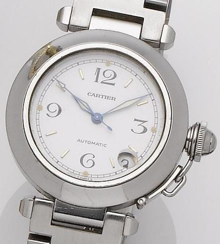 Cartier. A stainless steel automatic calendar bracelet watchPascha, Movement No.2892A2, Recent