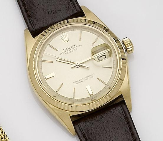Rolex. An 18ct gold automatic calendar wristwatchDatejust, Ref:1601, Case No.1034301, Movement No.19835, 1950's