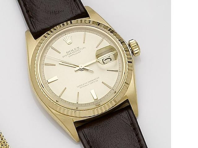 Rolex. An 18ct gold automatic calendar wristwatch  Datejust, Ref:1601, Case No.1034301, Movement No.19835, Circa ??