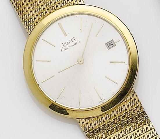 Piaget. An 18ct gold automatic calendar bracelet watch 1980's
