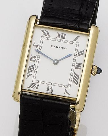 Cartier. 18ct gold automatic wristwatchTank, 1970's