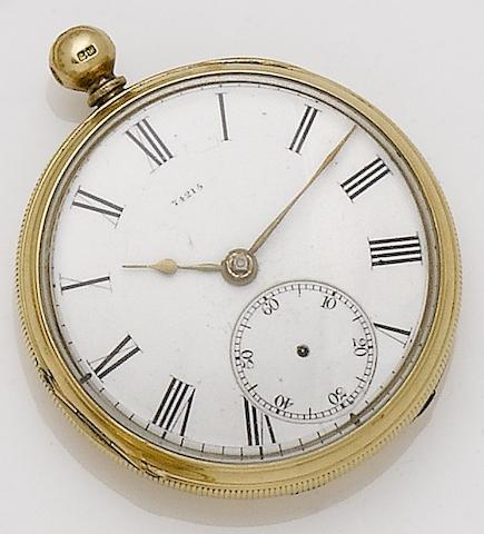Collings & Wallis. A late 19th century 18ct gold open face pocket watch (AF)London hallmark for 1868
