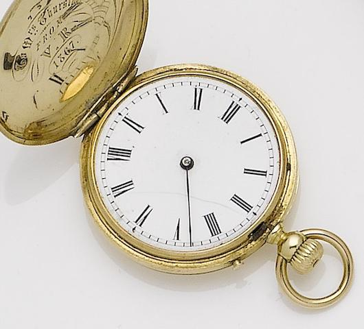 Klaftenberger. An 18ct gold full hunterpocket watch with dedication to 'Mrs Thurston from V.R' 1867, possibly a gift from Queen Victoria to her children's nursemaid