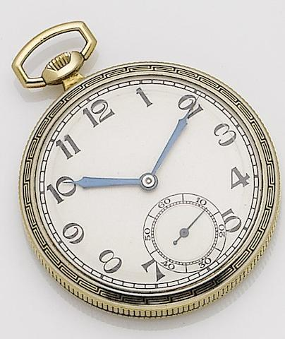 Tavannes. An 18ct gold manual wind enamel open face pocket watchRef:L701, Case No.7013C 26, Movement No.13980859, 1930's