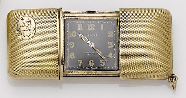 Movado. A silver gilt travel watch Case No.1214422, Cira 1940's