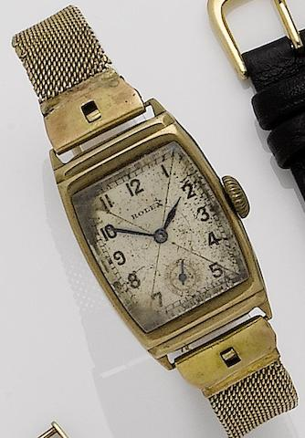 Rolex. A 9ct gold manual wind bracelet watch Ref:2387, Case No.23277, Glasgow Hallmark for 1936
