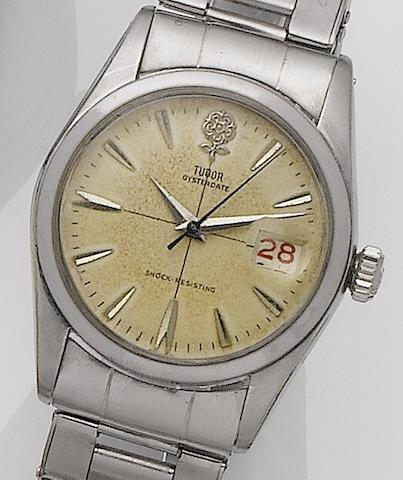 Tudor. A stainless steel manual wind bracelet watchOysterdate, Ref:7939, Serial No.20458/5, Sold 19th June 1959