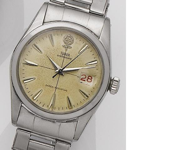 Tudor. A stainless steel manual wind bracelet watch Oysterdate, Ref: 7939, Serial No.20458/5, Sold 19th June 1959