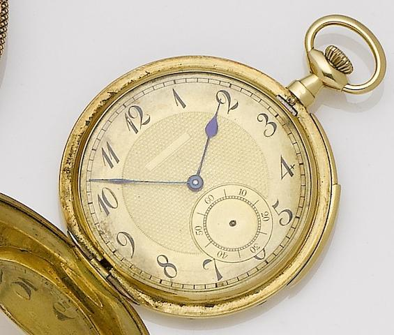 Unsigned. An 18ct gold repeating full hunter pocket watch
